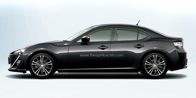 Imagem especulativa da nova Berlina Toyota GT86 idealizada pelo designer Theophilus Chin.
