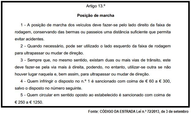 Artigo 13º Código da Estrada - Posição de marcha