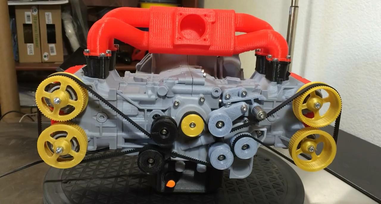Uma R 233 Plica Do Motor Boxer Da Subaru Numa Impressora 3d