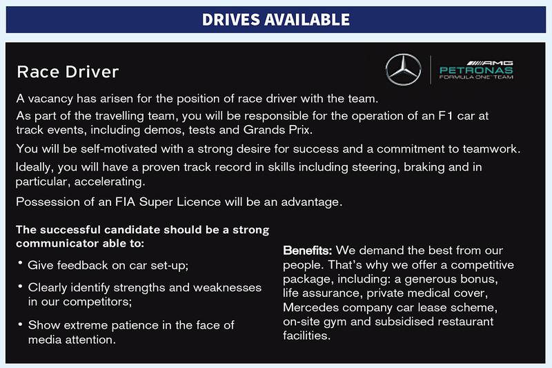 184ac39d6f4d Queres ser piloto de Fórmula 1  A Mercedes está a contratar
