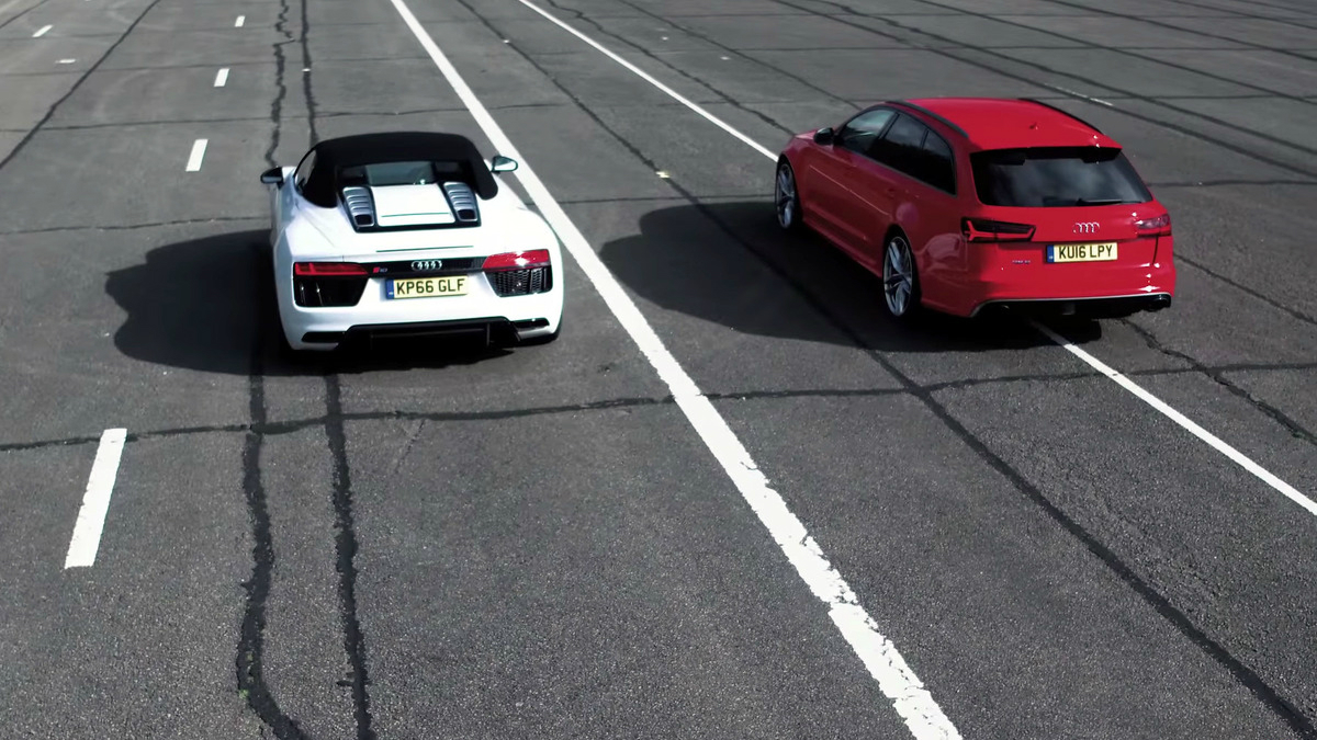 drag race - audi rs6 performance vs audi r8 spyder