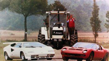 Ferruccio Lamborghini com trator, Lamborghini Countach e Lamborghini Miura