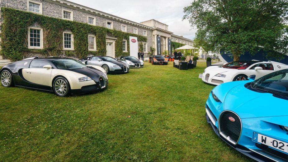 Bugatti Veyron e Bugatti Chiron em Goodwood