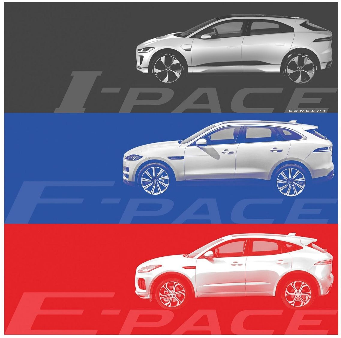 Jaguar I-Pace, Jaguar F-Pace, Jaguar E-Pace - comparação