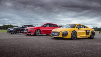 Drag Race: Audi S8 Plus vs Audi RS6 Performance vs Audi R8 V10 Plus