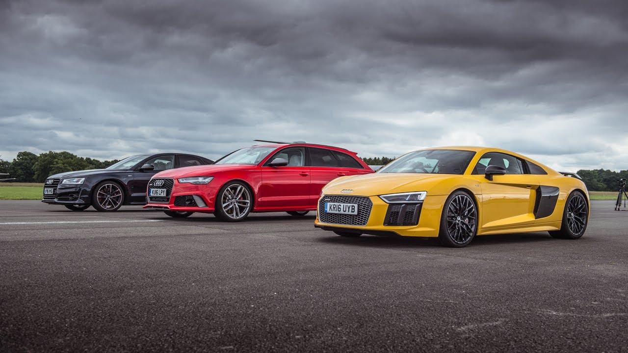 Drag Race: Audi S8 Plus vs Audi RS6 Performance vs Audi R8 V10 Plus