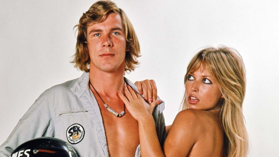 James Hunt com modelo Sue Shaw