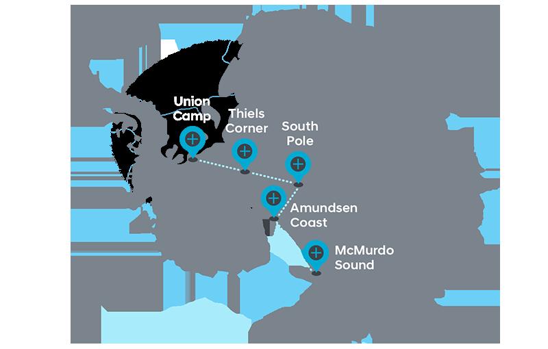 Rota planeada para a expedição de 2016