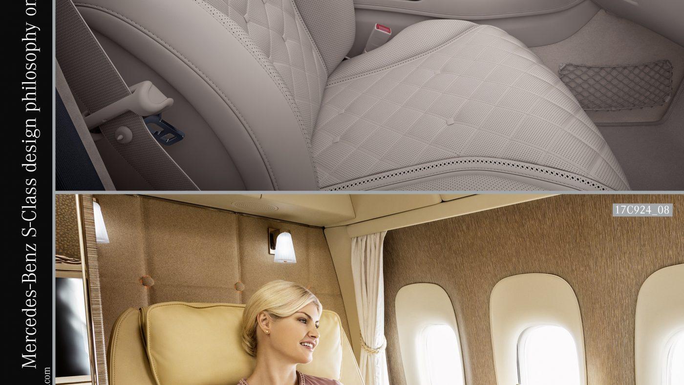 Comparação interior: Mercedes-Benz Classe S e suite Primeira Classe Boeing 777 da Emirates