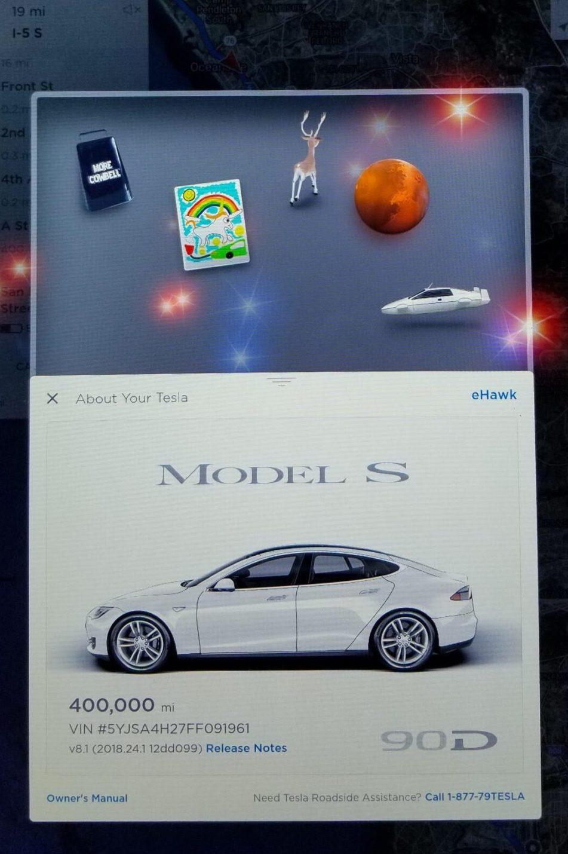 Tesla Model S, 400 mil milhas ou 643 mil quilómetros