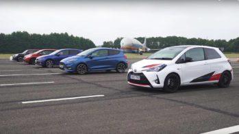 Drag Race — Toyota Yaris GRMN, Peugeot 208 GTI, Ford Fiesta ST, Volkswagen Polo GTI, Mini John Cooper Works