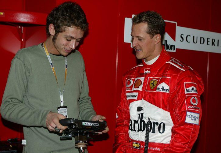 Valentino Rossi com Michael Schumacher