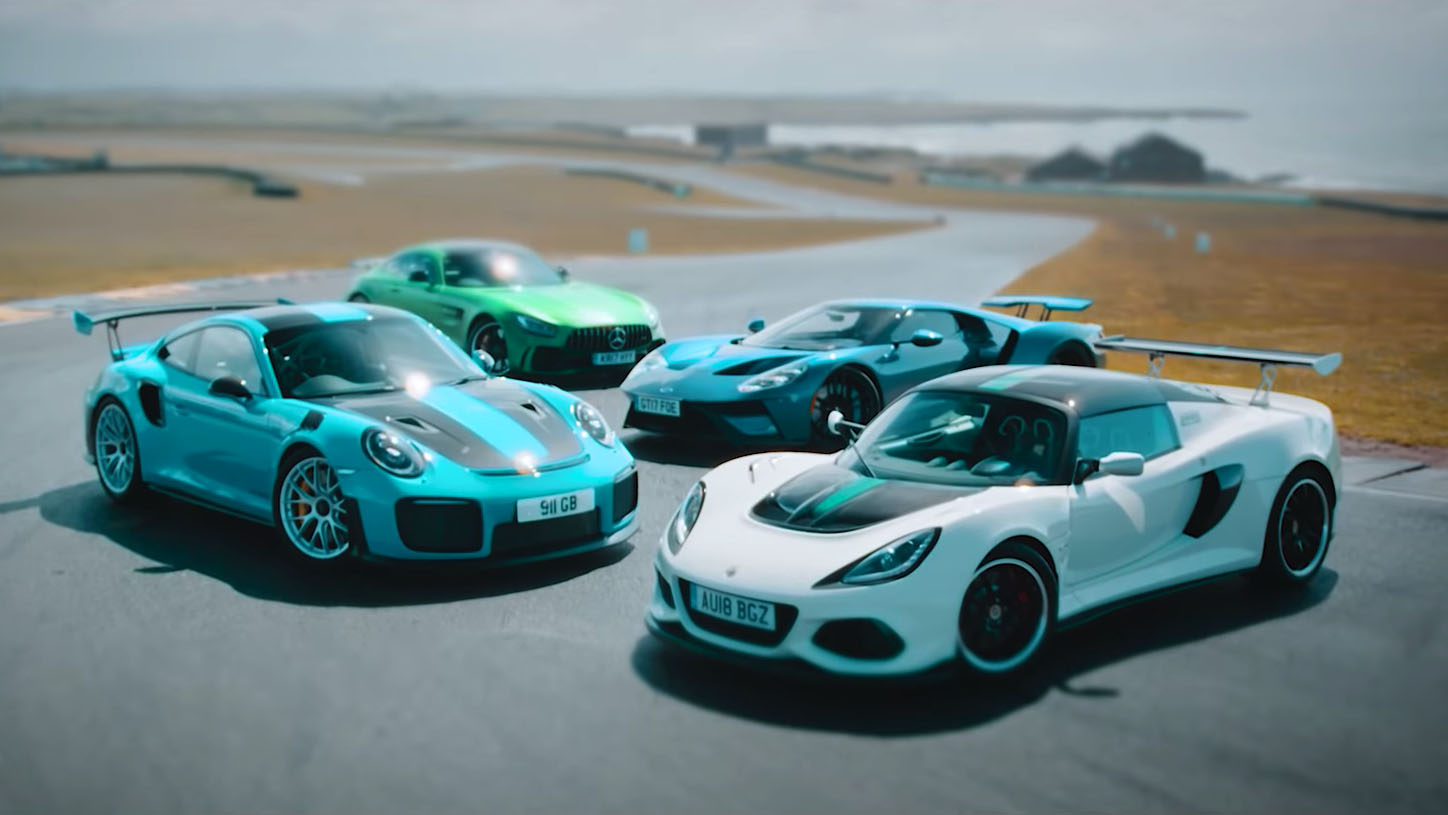 Ford GT, Mercedes-AMG GT R, Porsche 911 GT2 RS, Lotus Exige Cup