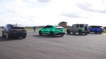Drag race Tesla Model X, Range Rover Sport SVR, Lamborghini Urus, Mercedes-AMG G63