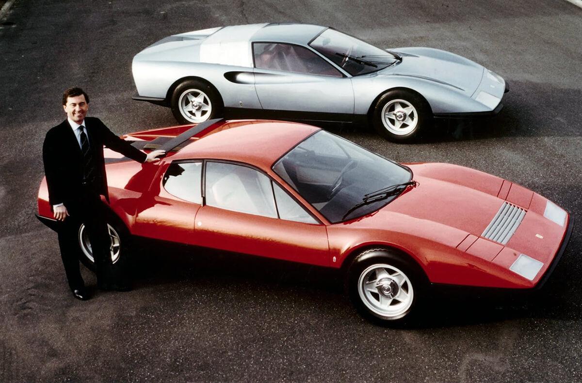 Leonardo Fioravanti ao lado do Ferrari 365 GT BB e Ferrari P6