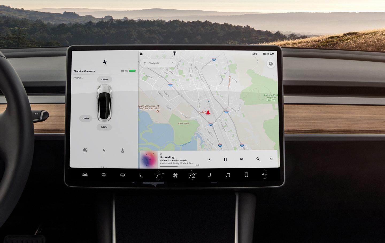 Sistema de navegação Tesla Model 3