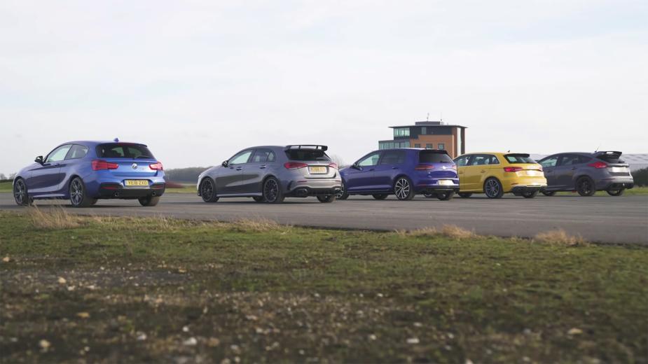 Drag Race Mercedes-AMG A 35, BMW M140i, Audi S3, Volkswagen Golf R, Ford Focus RS