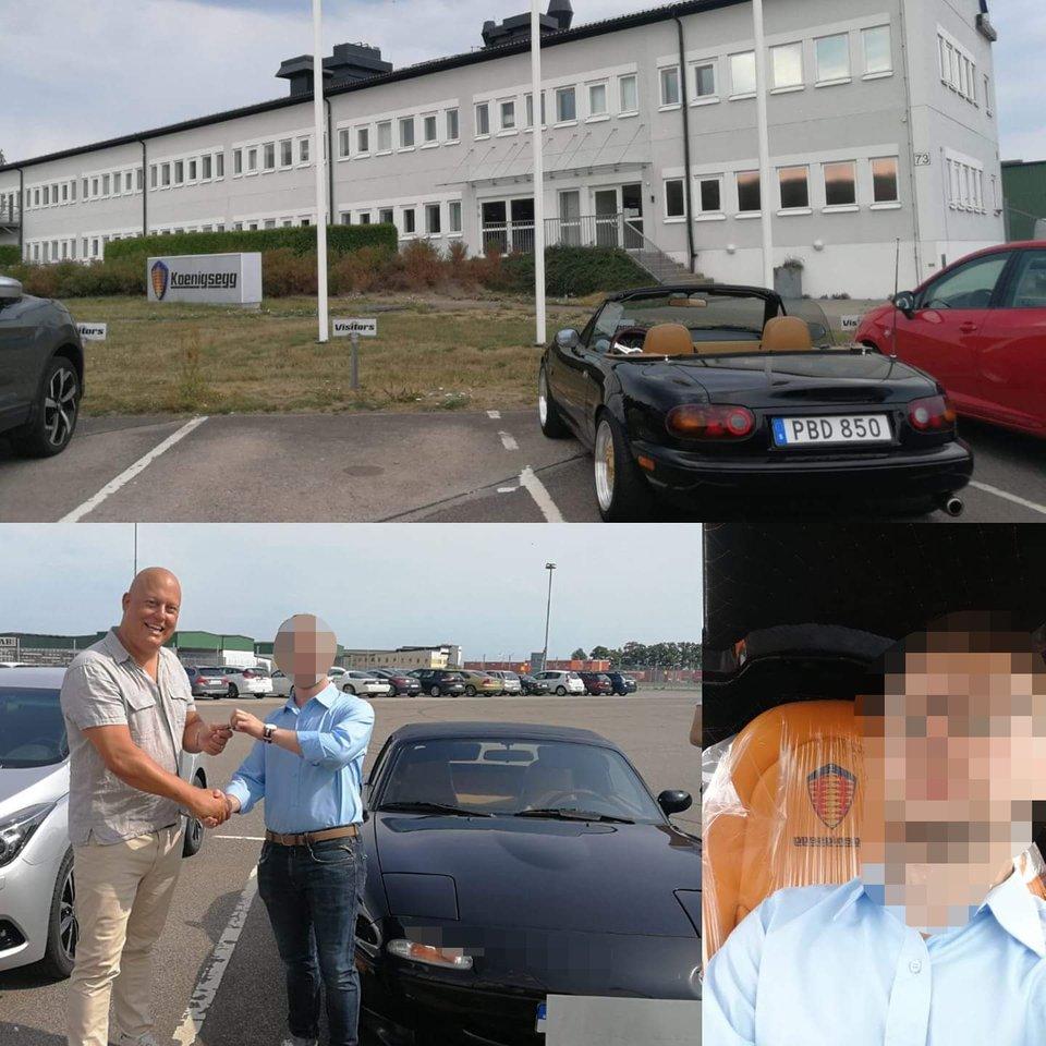 Christian von Koenigsegg com a sua mulher e o Mazda MX-5. Fonte: Facebook