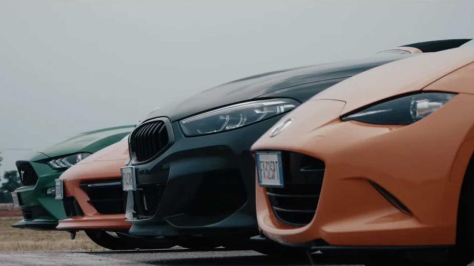 Drag race MX-5, Mustang, 911, Série 8