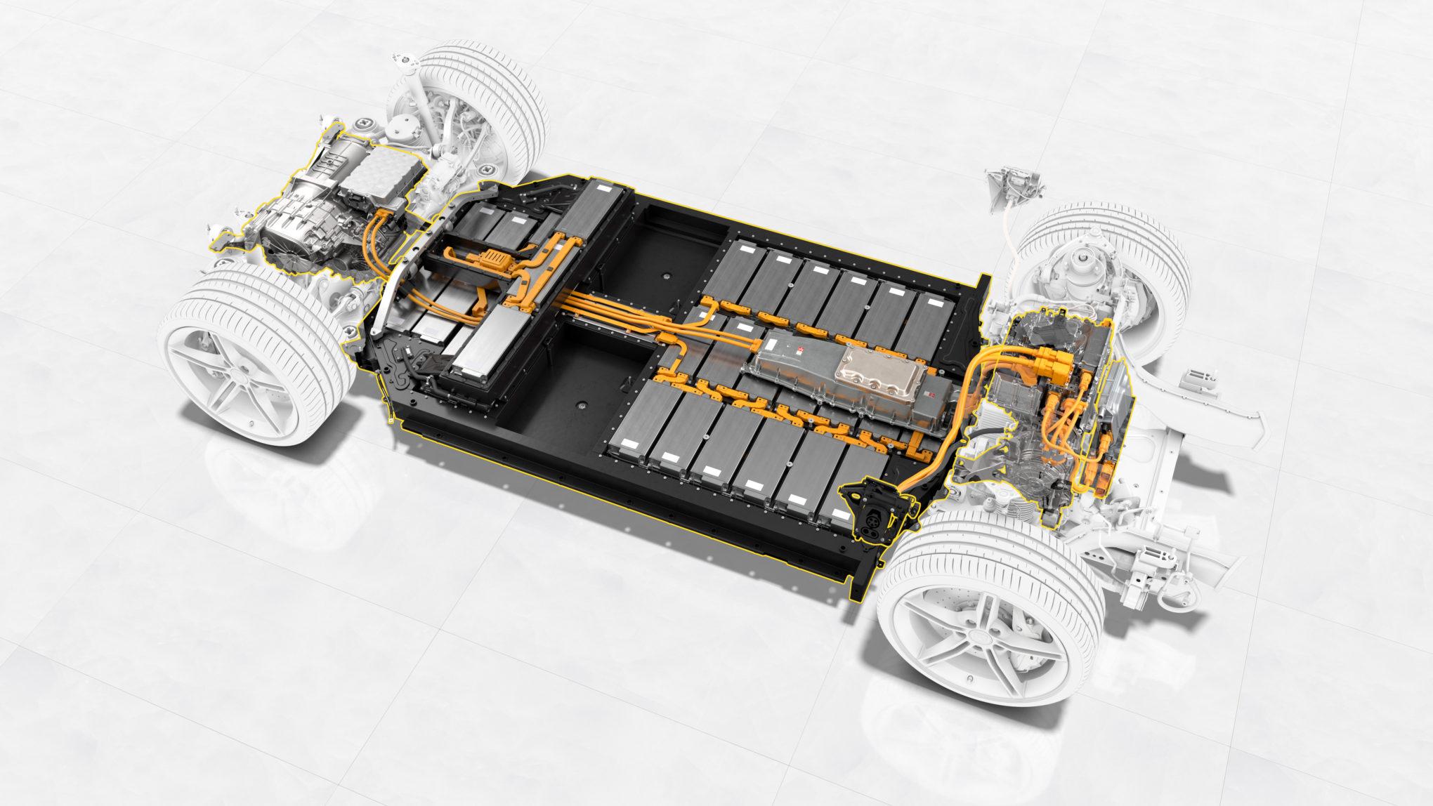 Porsche Taycan, motores elétricos e baterias