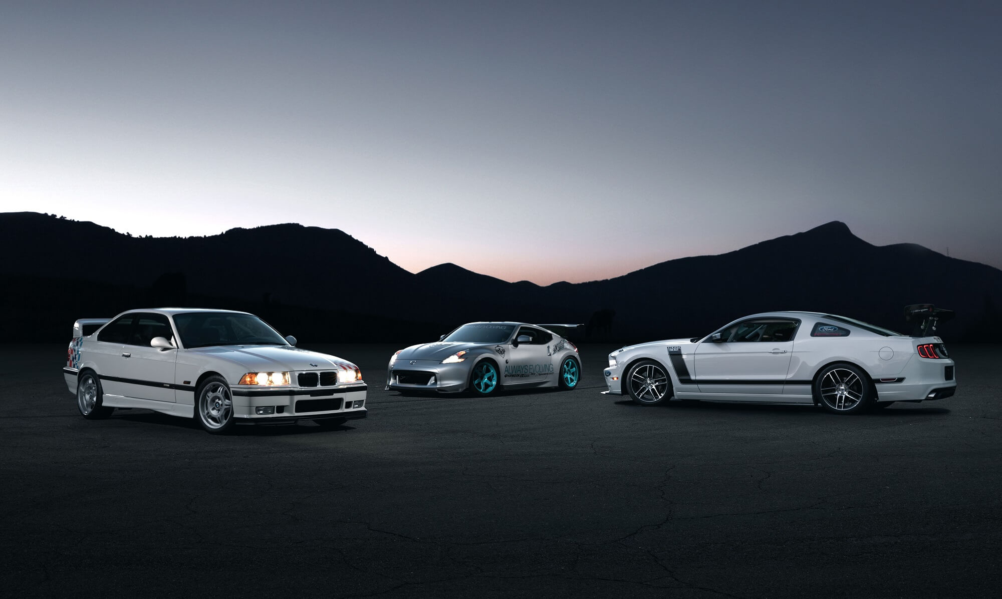 BMW M3 Lightweight, Nissan 370Z, Ford Mustang Boss S302