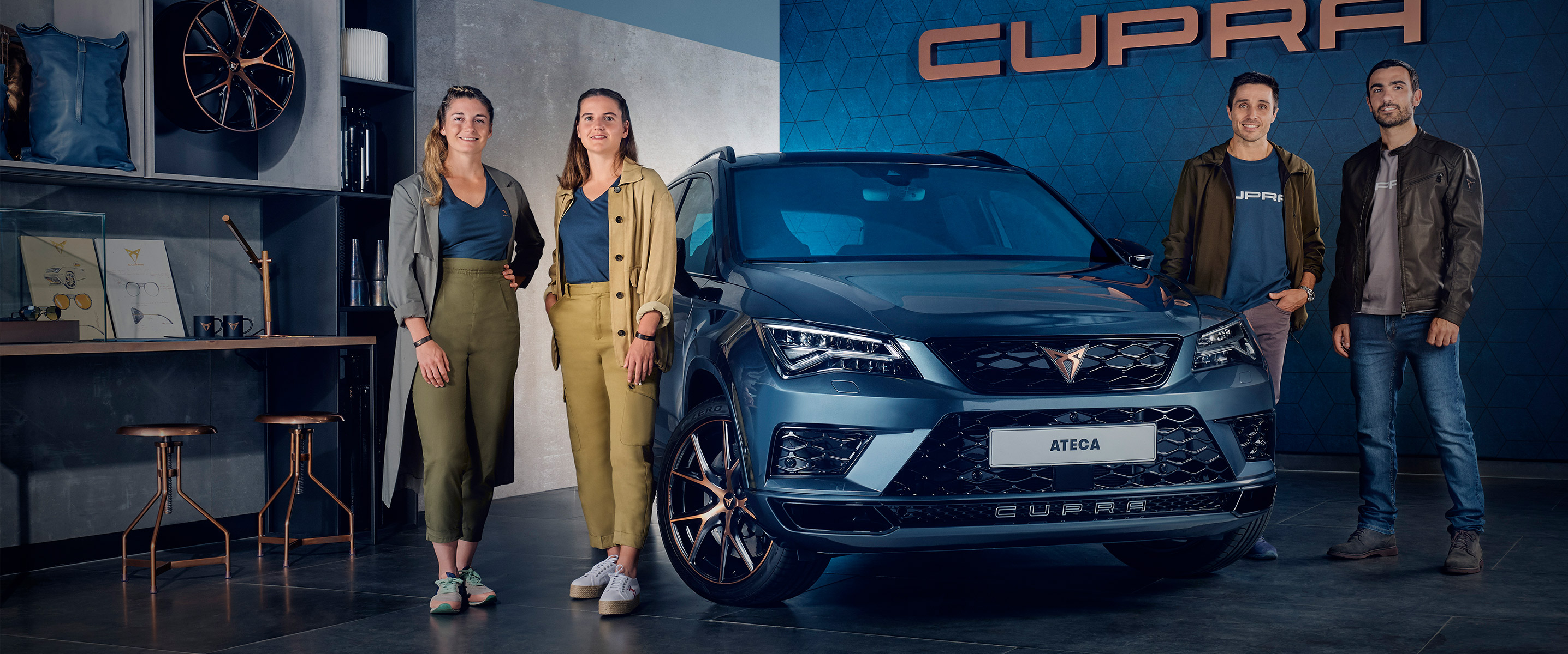 CUPRA Ateca front view with padel players