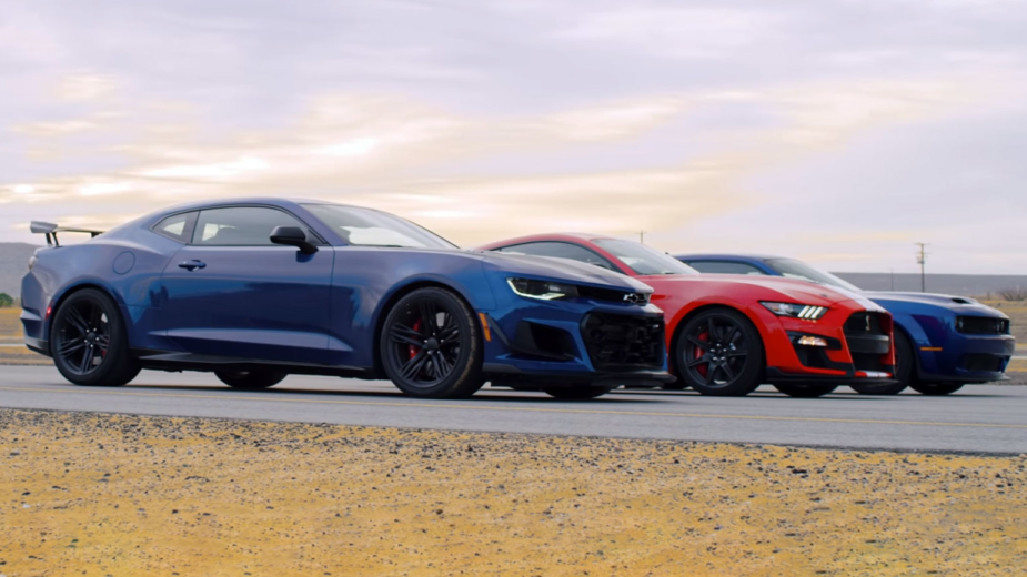 chevrolet camaro zl1 vs ford mustang shelby gt500 vs dodge challenger hellcat redeye