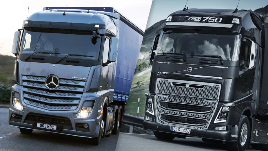 Camiões Mercedes e Volvo