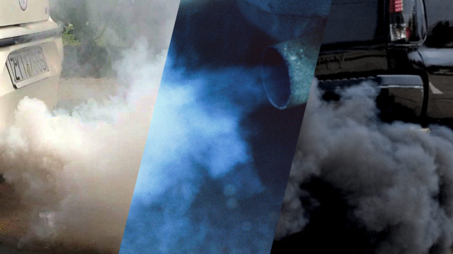 Cores dos fumos de escape