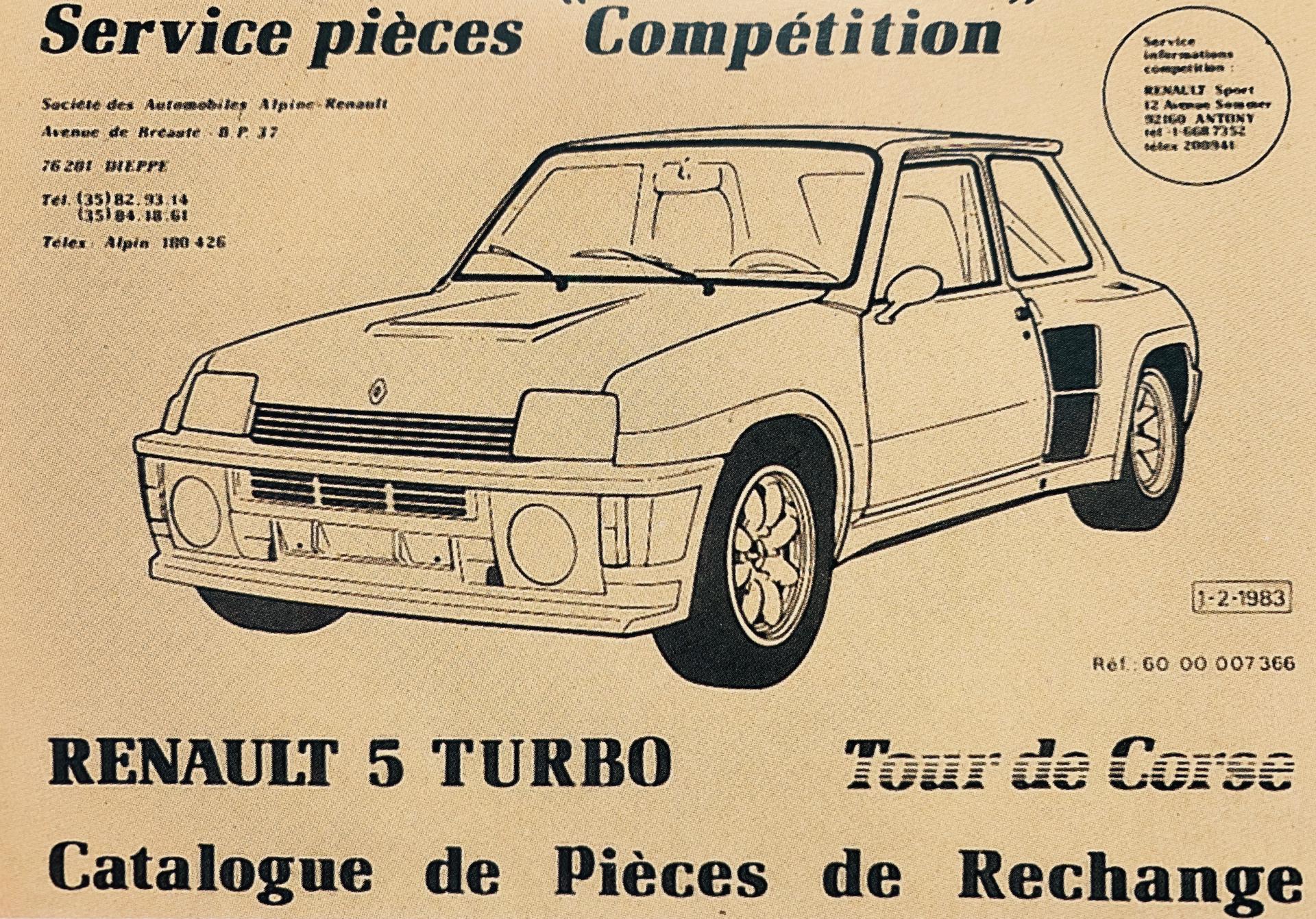 Renault 5 Turbo Tour de Course catálogo de peças