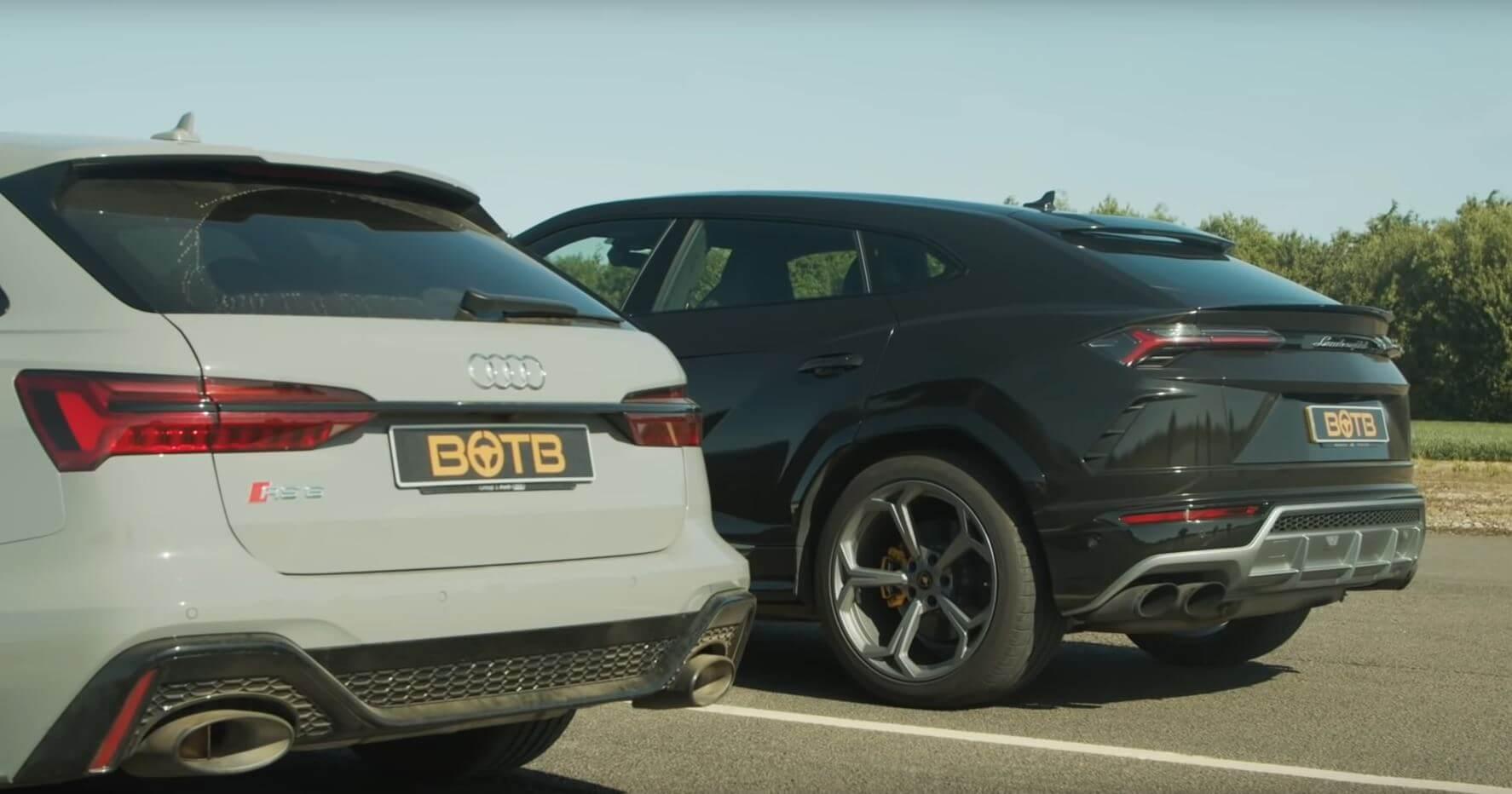 Audi RS6 Avant e Lamborghini Urus drag race