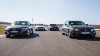 Audi S4 Avant, BMW M340i Touring, Mercedes-AMG C 43 Station, Volvo V60 T8 Polestar Engineered