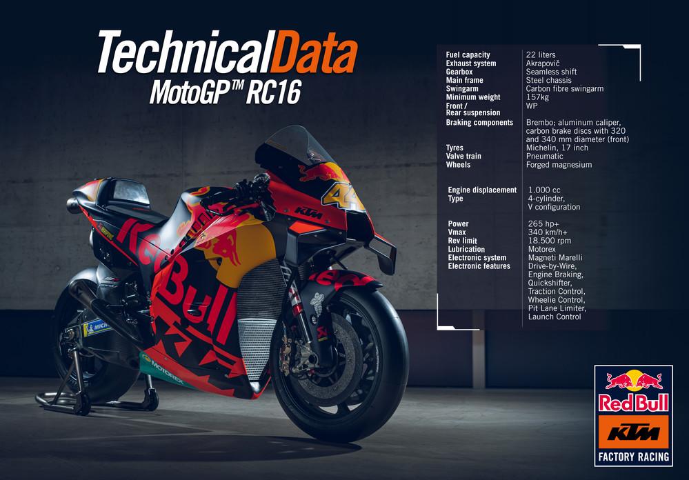Especificações técnicas KTM RC16