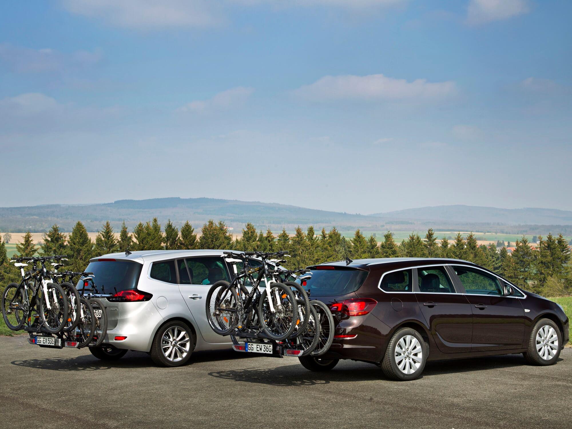 Opel Zafira e Astra transporte bicicletas