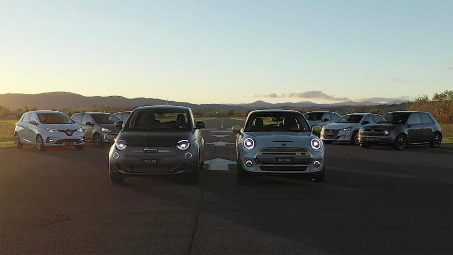 fiat 500, honda e, mazda mx-30, mini cooper se, peugeot e-208, renault zoe, smart forfour, volkswagen e-up