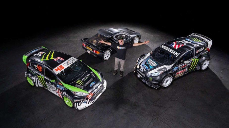 Ken Block com os 3 Ford que colocou à venda