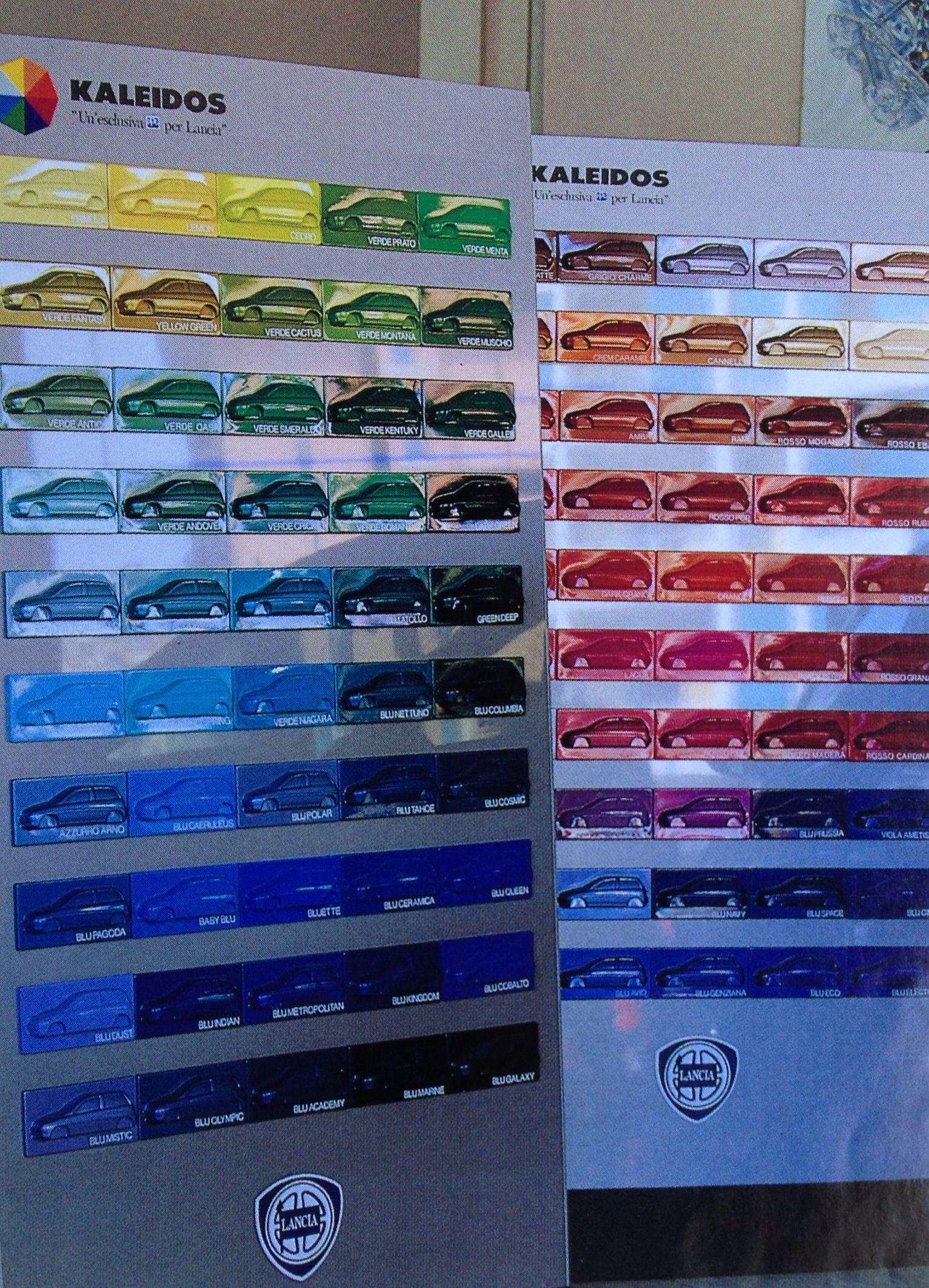 Mostruário de cores do Lancia Y