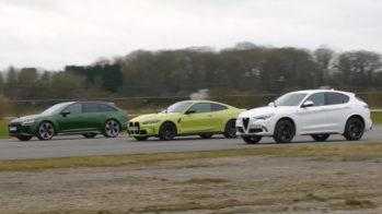Drag Race Alfa Stelvio Quadrifoglio, Audi RS 6 Avant, BMW M4 Competition