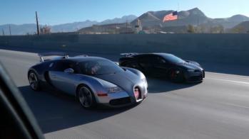 Bugatti Veyron vs Bugatti Chiron - Drag race